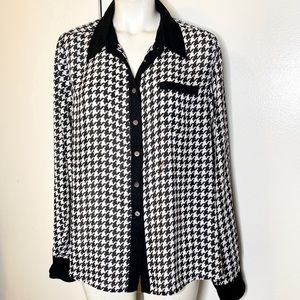 Vince Camuto Black White Houndstooth Blouse L